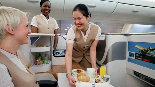 Emirates flight attendants start on a basic annual salary of about 47,000 dirhams ($A12,200), plus hourly flying pay, a fixed monthly cash sum based on their role and competencies, free housing and transport, and an annual payment from a profit- sharing plan.