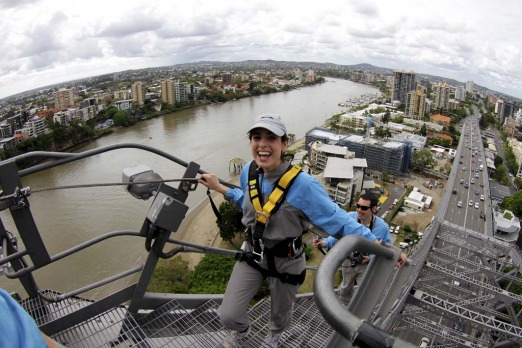 Marissa Calligeros climbs the Story Bridge before abseiling.