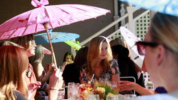 Sup in the sun ... parasols and retro frills pack the terrace at Madame Brussels, where cupcakes and other old-fashioned ...