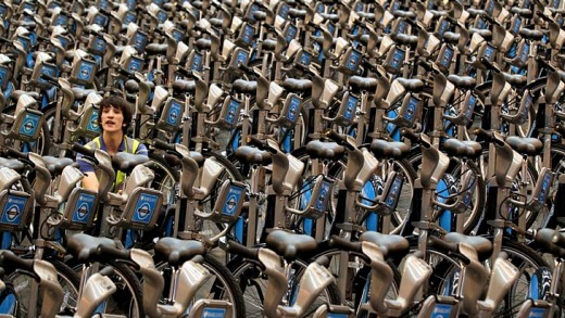 Boris bikes ... there are 6000 hire bikes available from 400 docking stations throughout London.