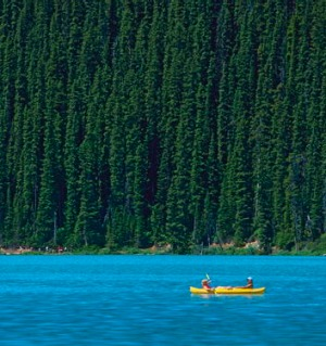 Canoeing on Lake Louise, Canada.