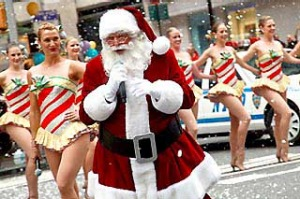 The Radio City Rockettes and Santa Claus (Center) perform during the 2010 Radio City Christmas Spectacular