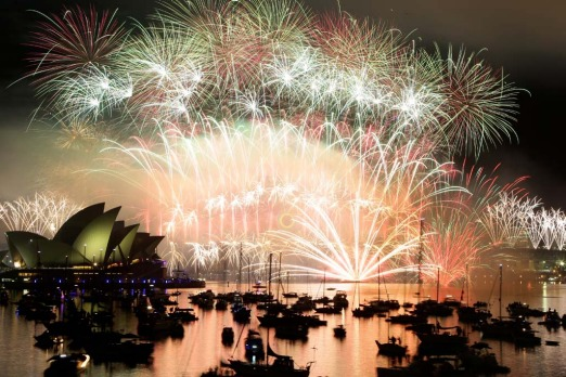 Sydney welcomes in New Year's Day 2012.