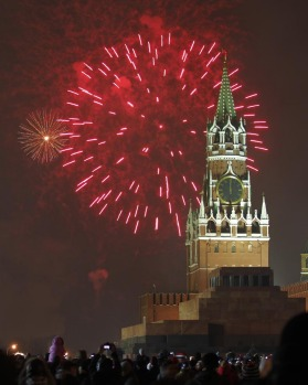 Fireworks explode during New Year's Eve celebration on Red Square in Moscow.