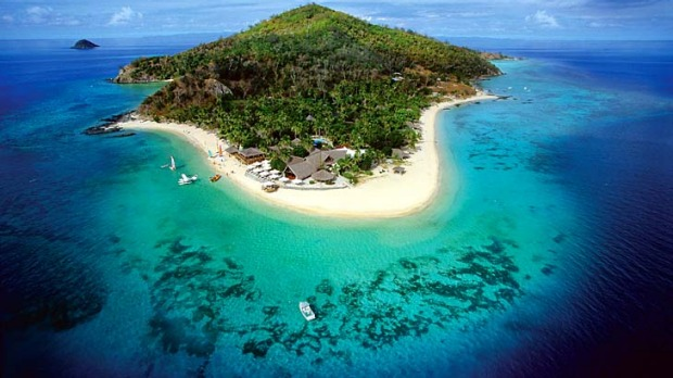 Fiji time ... aerial view of Castaway Island.