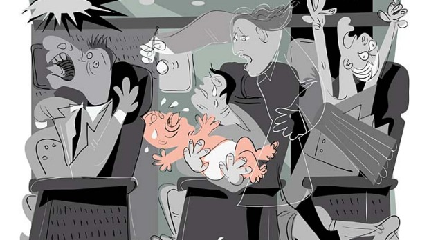 Travelling with children can be a white-knuckle ride. Illustration: Michael Mucci.