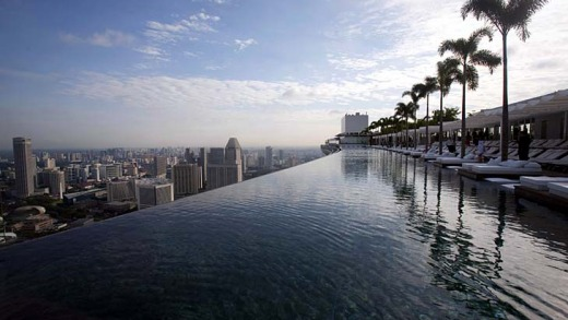 The view across the SkyPark pool atop the Marina Bay Sands resort in Singapore.