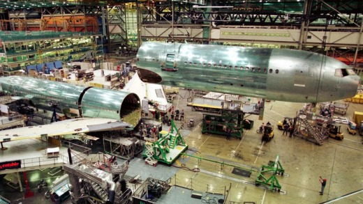 Size matters ... covering 39 hectares, the Boeing Everett factory is the size of 911 basketball courts.