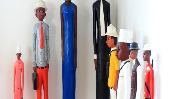 Some of Michael Visontay's collection of African statues.