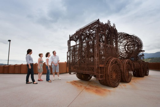 Wim Delvoye exhibition at MONA. Kerry Leathem, Kate Stapleton and John and Mary Van Denbrock from Ballarat looking at ...