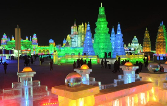 Ice scupltures are displayed at the annual Ice and Snow festival in Harbin.