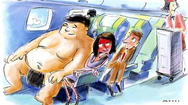 Australian airlines have rejected calls to introduce a 'fat tax' on obese passengers. Illustration: Michael Mucci.