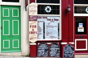 Colourful exterior of Mrs Crossley?s Fish and Chip shop in Scarborough, Yorkshire.