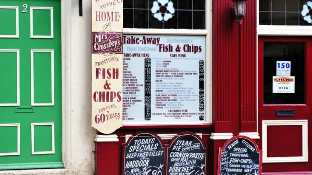 Chips off the old block ... Mrs Crossley's fish-and-chips shop in Scarborough, Yorkshire.