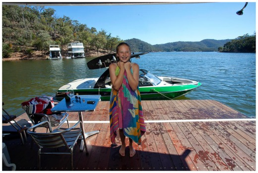 12 yr old Madison Henwood on her cousions housbaot at lake eildon