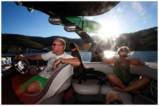 Noel and Linda Courtney on their speedboat at lake eildon