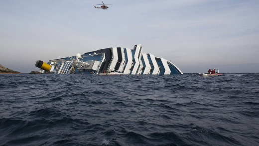 The stricken cruise ship Costa Concordia lies in shallow water off the Italian island of Giglio.