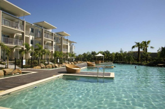SWIMMING WITH OPTIONS. Peppers Salt Resort and Spa, Kingscliff. This resort has several pools of varying temperatures ...