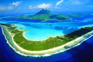 Polynesian adventure ... an aerial view of the island and lagoon at Bora Bora.