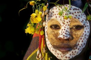 Portrait of a suri, surma tribe women, Ethiopia, Africa. Photograph by Getty Images. SHD TRAVEL FEB 12 ETHIOPIA. DO NOT ...