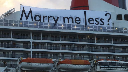 Love in the air ... Stefan Libon arranged for this sign to be put up on the Queen Mary 2.