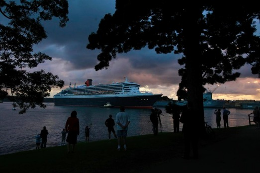 The Queen Mary 2 arrival drew a small crowd this morning.