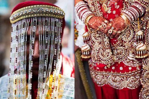 <b>Tilak Nagar:</b> A wedding where the man wears a veil and she wears everything else