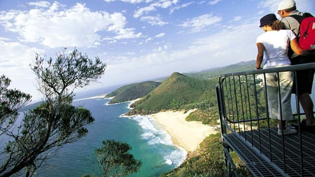 Vantage point ... the view south from the summit of Tomaree Headland.