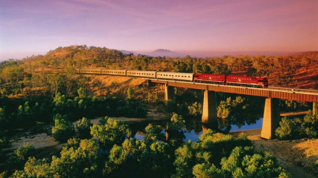 Legendary ... The Ghan at a bridge crossing.
