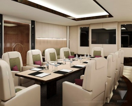 An artist's rendering of a potential custom interior conference room for Boeing's 747-8 Intercontinental VIP jetliner.