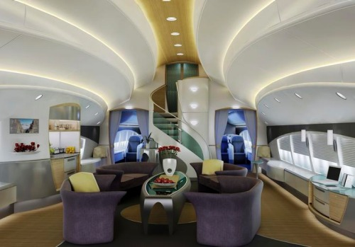 An artist's rendering of a potential custom interior for Boeing's 747-8 Intercontinental VIP jetliner