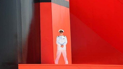 Stiff upper lip ... Commodore Christopher Rynd on the Queen Mary 2.
