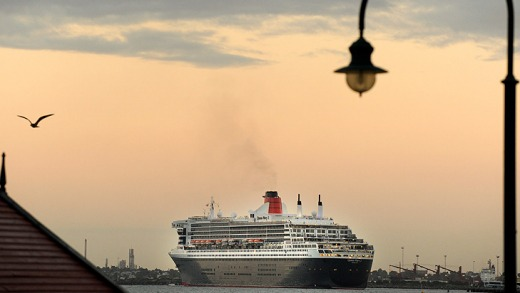 First glimpse... The Queen Mary 2 approaches Station Pier this morning.