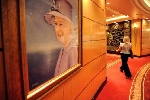 A portrait of Queen Elizabeth hangs in the Grand Lobby of the Queen Mary 2.