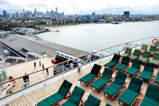 Deck chairs at the ready on board Queen Mary 2.