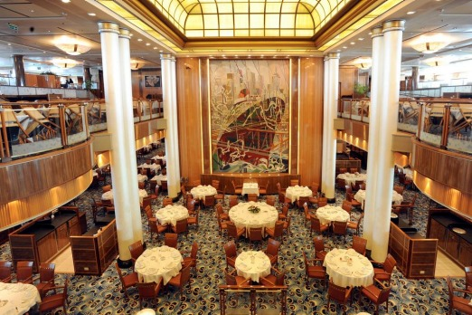 The Brittania restaurant over three levels on Queen Mary 2.