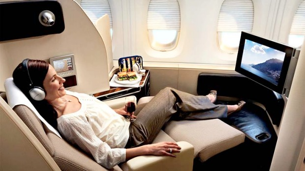 First class on a Qantas A380. Frequent flyers will now be able to use their points to secure an upgrade at the airport if a seat becomes available at the last minute.