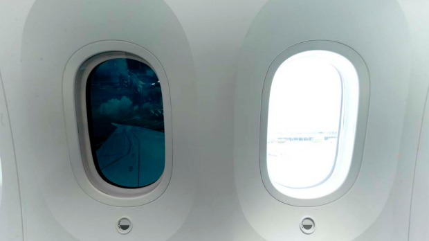 Electronically dimmed windows on board the Boeing 787 Dreamliner.