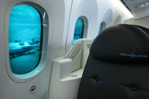 The new dimming electronic window shades of the Boeing 787 Dreamliner.