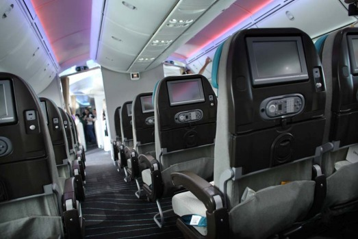 The interior of the Boeing 787 Dreamliner.