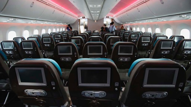 Economy class seats during of the Boeing 787 Dreamliner.
