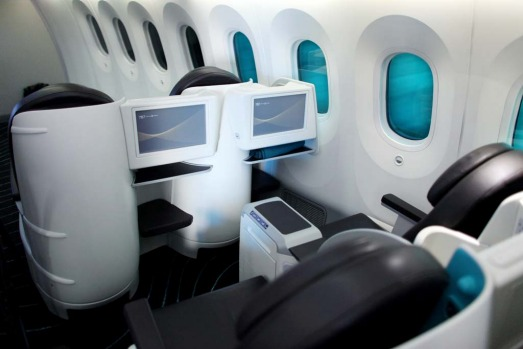 The interior of the first class cabin of the Boeing 787 Dreamliner.
