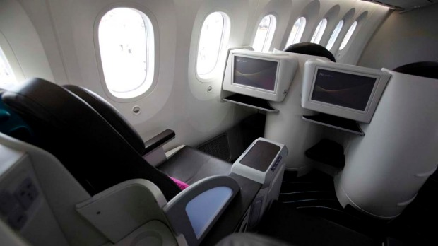 A view of the business class seats of the Boeing 787 Dreamliner during a demonstration flight.