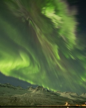 The Northern Lights are seen in the skies near Faskusfjordur on the  east coast of Iceland Thursday March 8, 2012.