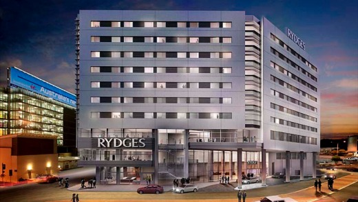 An artist impression of the Rydges Hotel set to open at Sydney Airport next year.