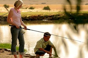 Go fish ... six ponds are stocked with trout at Tuki Retreat.