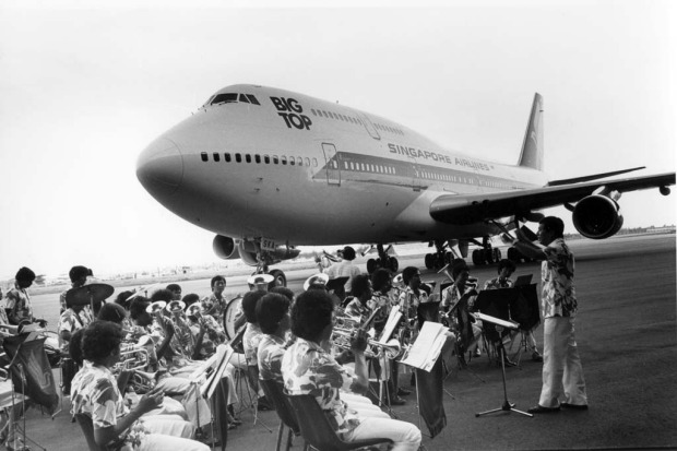 Singapore Airlines receiving its second series of B747 jets, the -300 series, at Boeing's factory near Seattle in 1973.