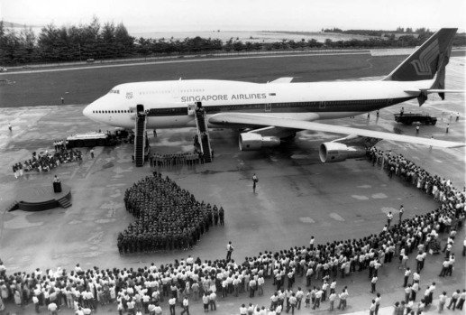Singapore Airlines receives its first Boeing 747 jumbo jet at Boeing's factory near Seattle in 1973.