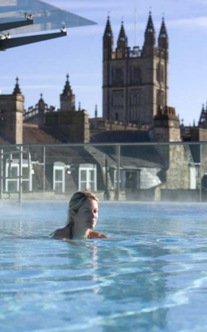 Getaway ... a woman relaxes in Bath, England.