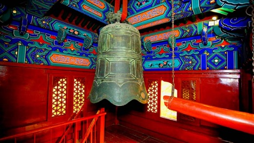 A bell hanging in a temple in Beihai Park, Dongcheng.